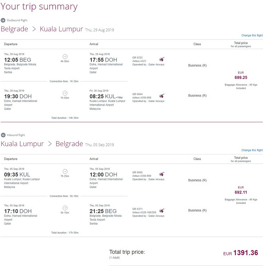 Preisbeispiel von Belgrad nach Kuala Lumpur in der Qatar Airways Business-Class