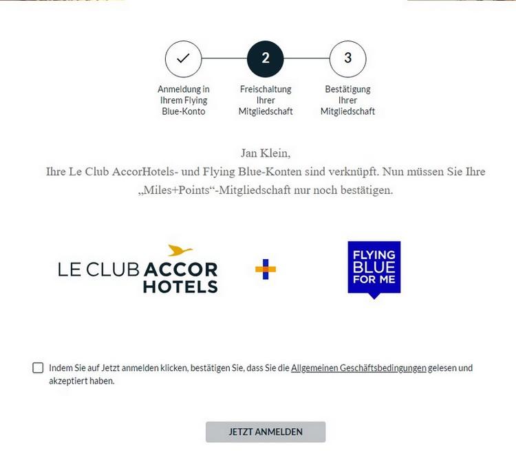 Registrierungsprozess für Miles + Points bei Le Club AccorHotels