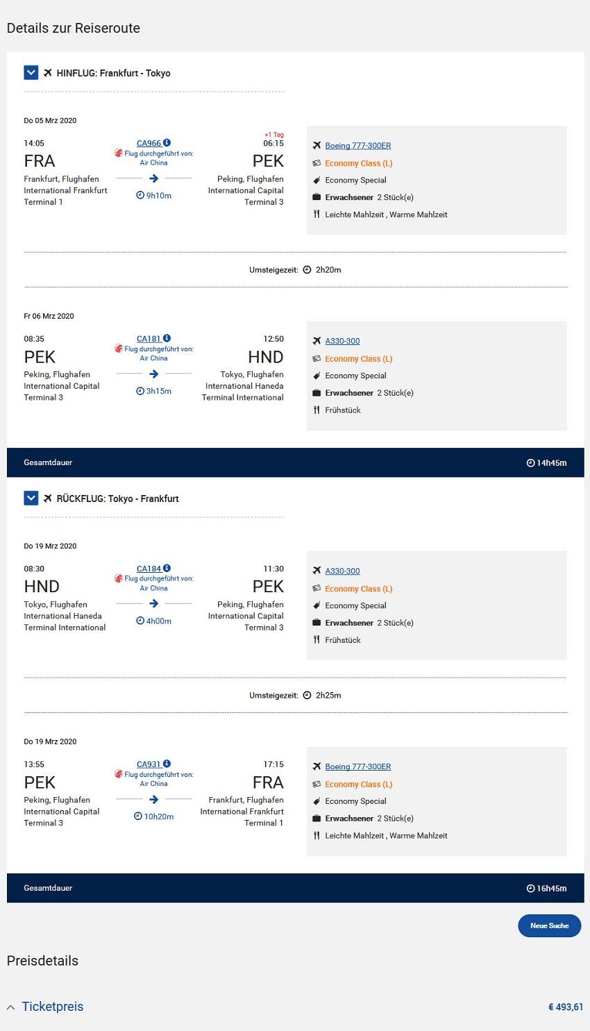 Preisbeispiel von Frankfurt nach Tokyo in der Air China Economy-Class