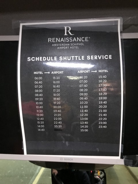 Shuttle Fahrplan zum Renaissance Amsterdam Schiphol