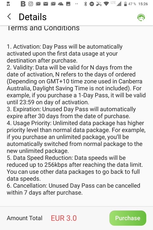 Glocal Me 3G Kaufabwicklung Data Pass Australia über App