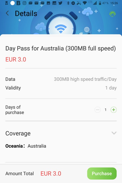 Glocal Me 3G Data Pass Australia über App