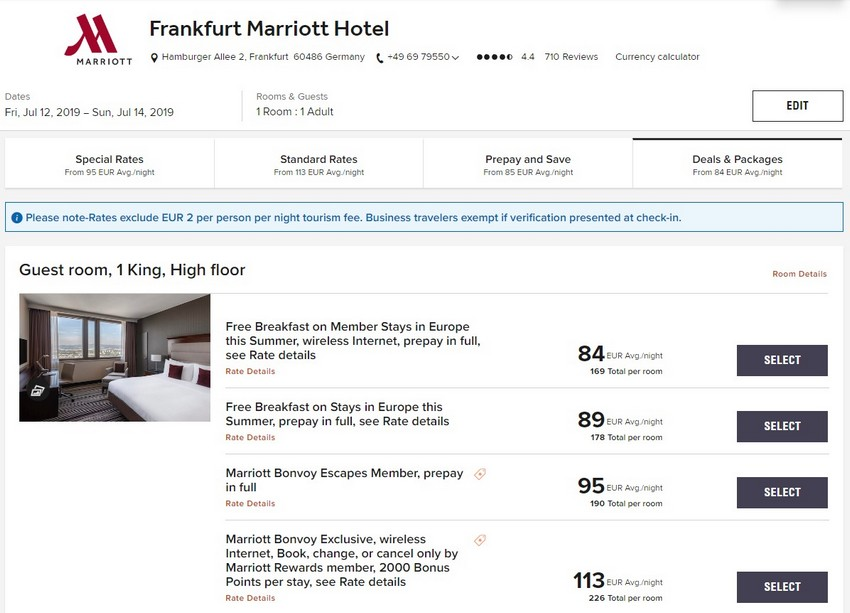 Vergleich Marriott Bonvoy Escapes Raten Frankfurt Marriott