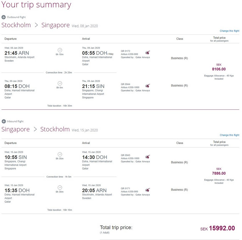 Preisbeispiel von Stockholm nach Singapore in der Qatar Airways Business-Class