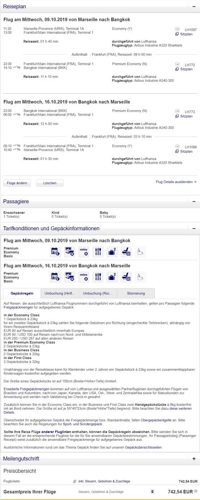 Preisbeispiel von Marseille nach Bangkok in der Lufthansa Premium-Economy-Class