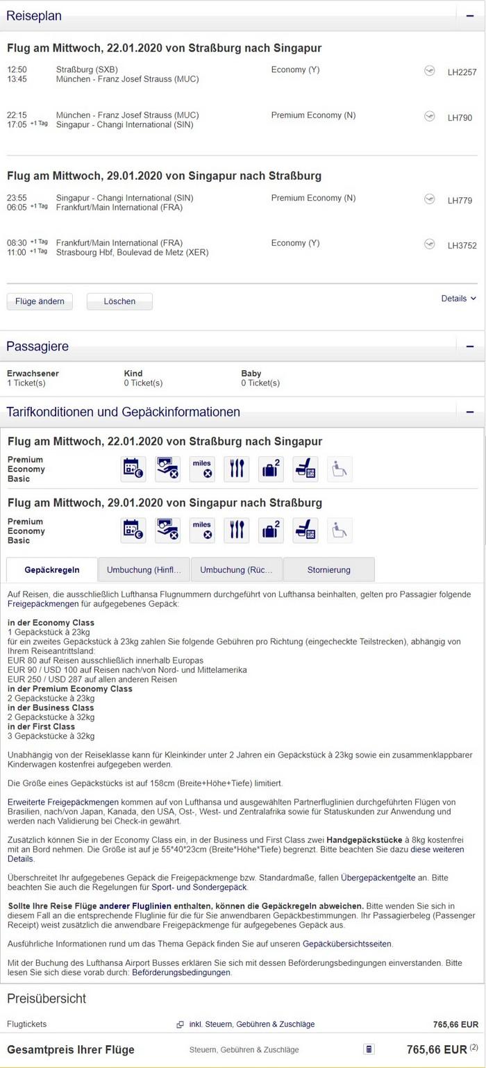 Preisbeispiel von Strasbourg nach Singapore in der Lufthansa Premium-Economy-Class