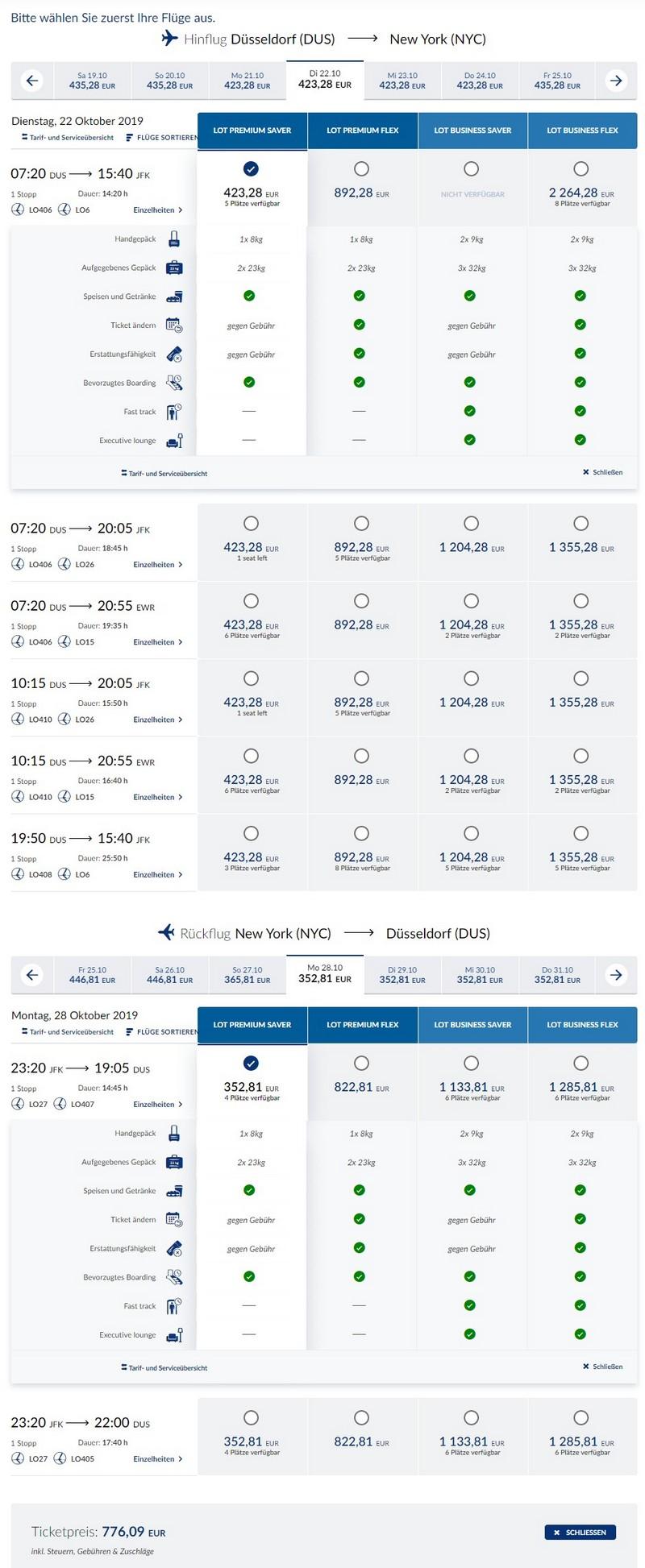 Preisbeispiel von Düsseldorf nach New York in der LOT Premium-Economy-Class