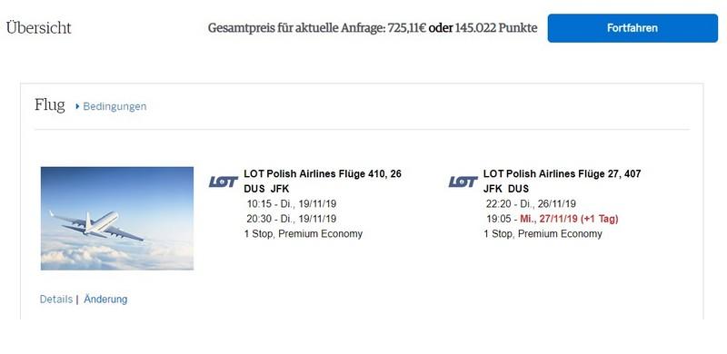 Preisbeispiel von Düsseldorf nach New York in der LOT Premium-Economy-Class bei American Express Travel