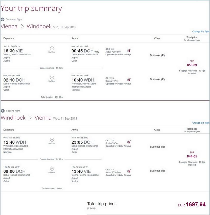 Preisbeispiel von Wien nach Windhoek in der Qatar Airways Business-Class