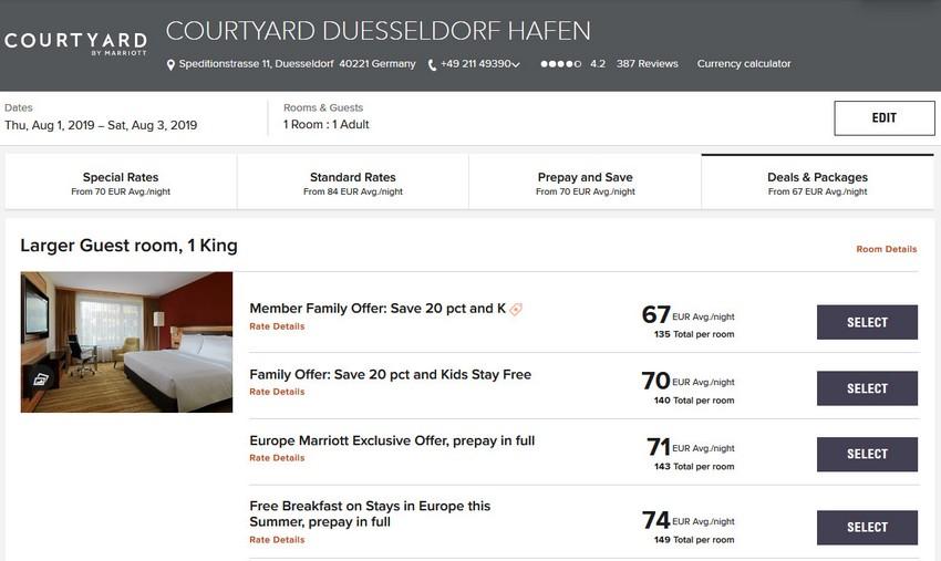 Vergleich Marriott Bonvoy Escapes Raten Courtyard Düsseldorf Hafen
