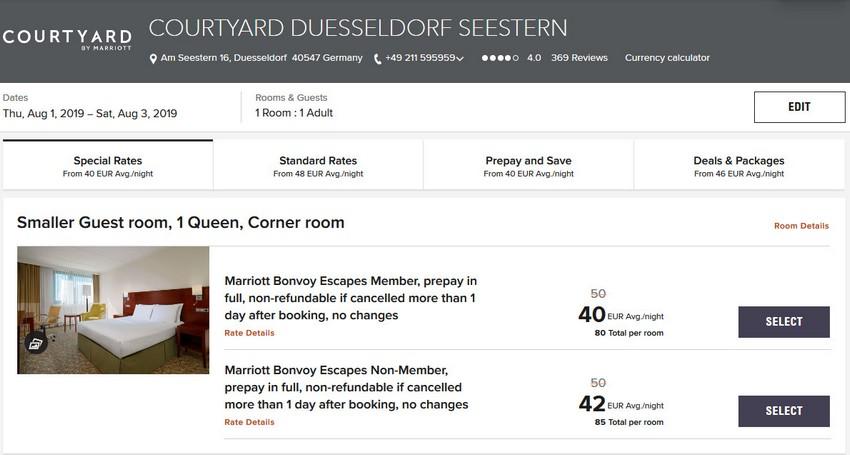 Vergleich Marriott Bonvoy Escapes Raten Courtyard Düsseldorf Seestern