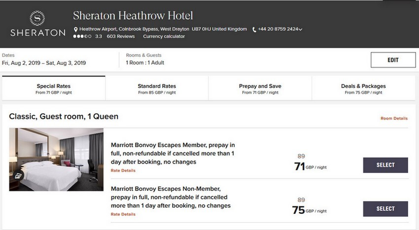 Vergleich Marriott Bonvoy Escapes Raten Sheraton London Heathrow