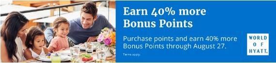 40% Bonus beim Kauf von Word of Hyatt Punkten bis 27.08.2019
