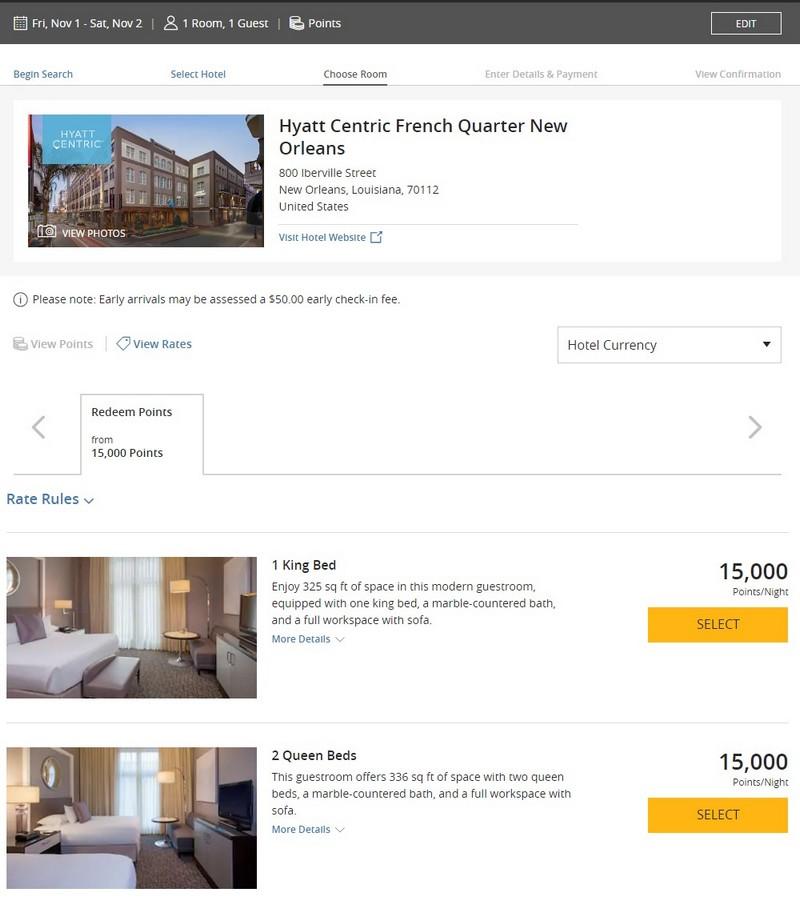 Punkteraten für Zimmer im Hyatt Centric French Quarter in New Orleans