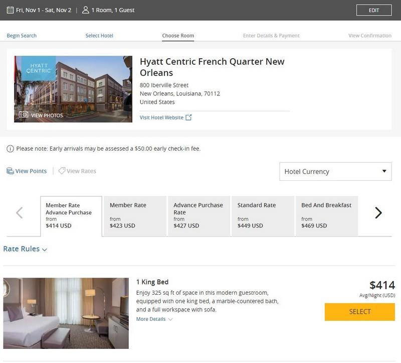 Preise für Zimmer im Hyatt Centric French Quarter in New Orleans