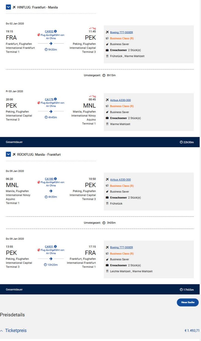 Preisbeispiel von Frankfurt nach Manila in der Air China Business-Class
