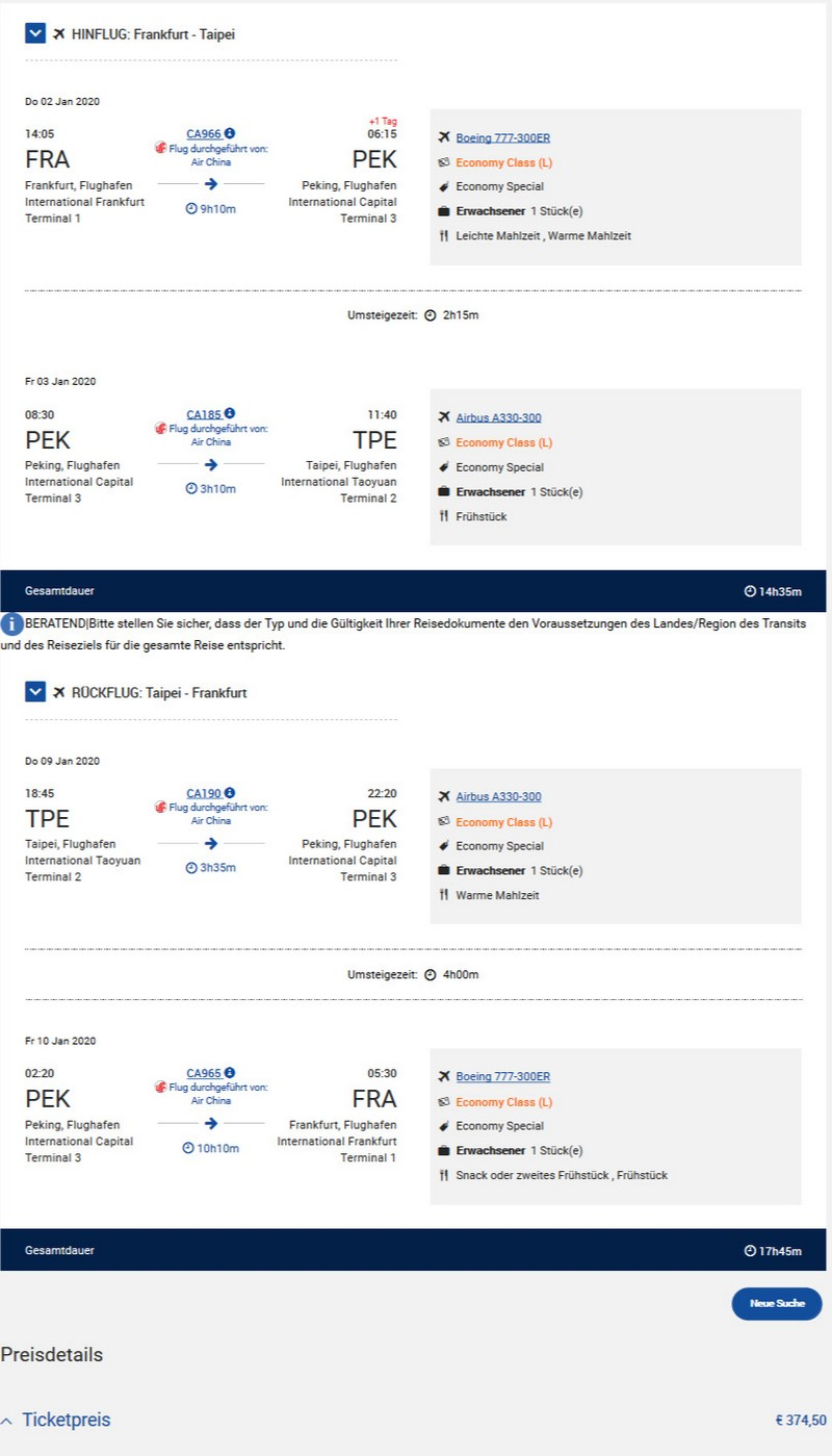 Preisbeispiel von Frankfurt nach Taipei in der Air China Economy-Class