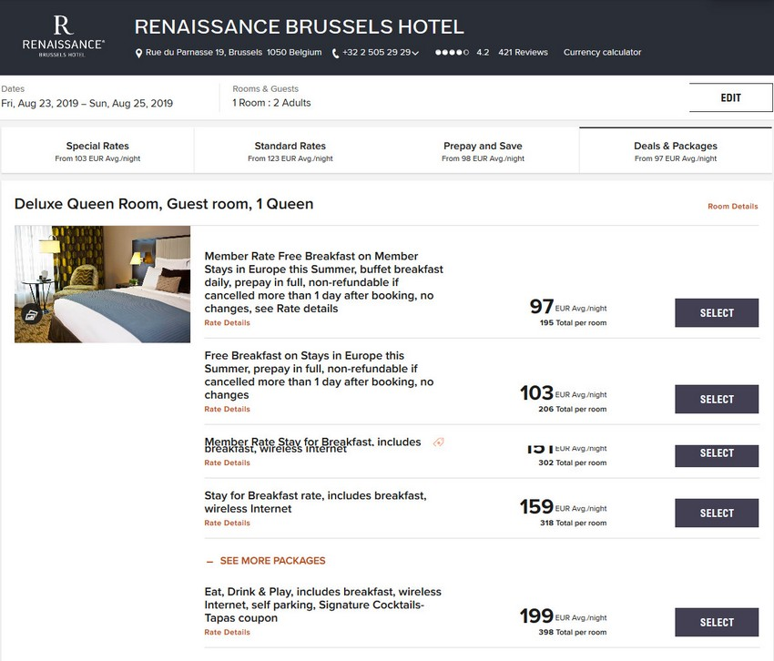 Vergleich Marriott Bonvoy Escapes Raten Renaissance Brussels Hotel