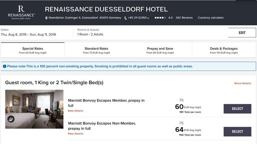 Vergleich Marriott Bonvoy Escapes Raten Renaissance Düsseldorf Hotel