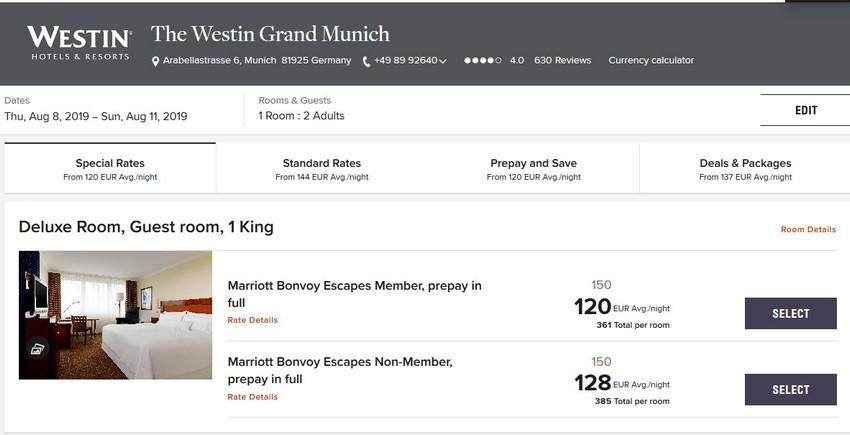 Vergleich Marriott Bonvoy Escapes Raten Westin München