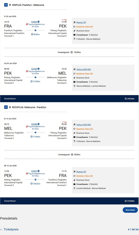 Preisbeispiel von Frankjfurt nach Melbourne in der Air China Business-Class