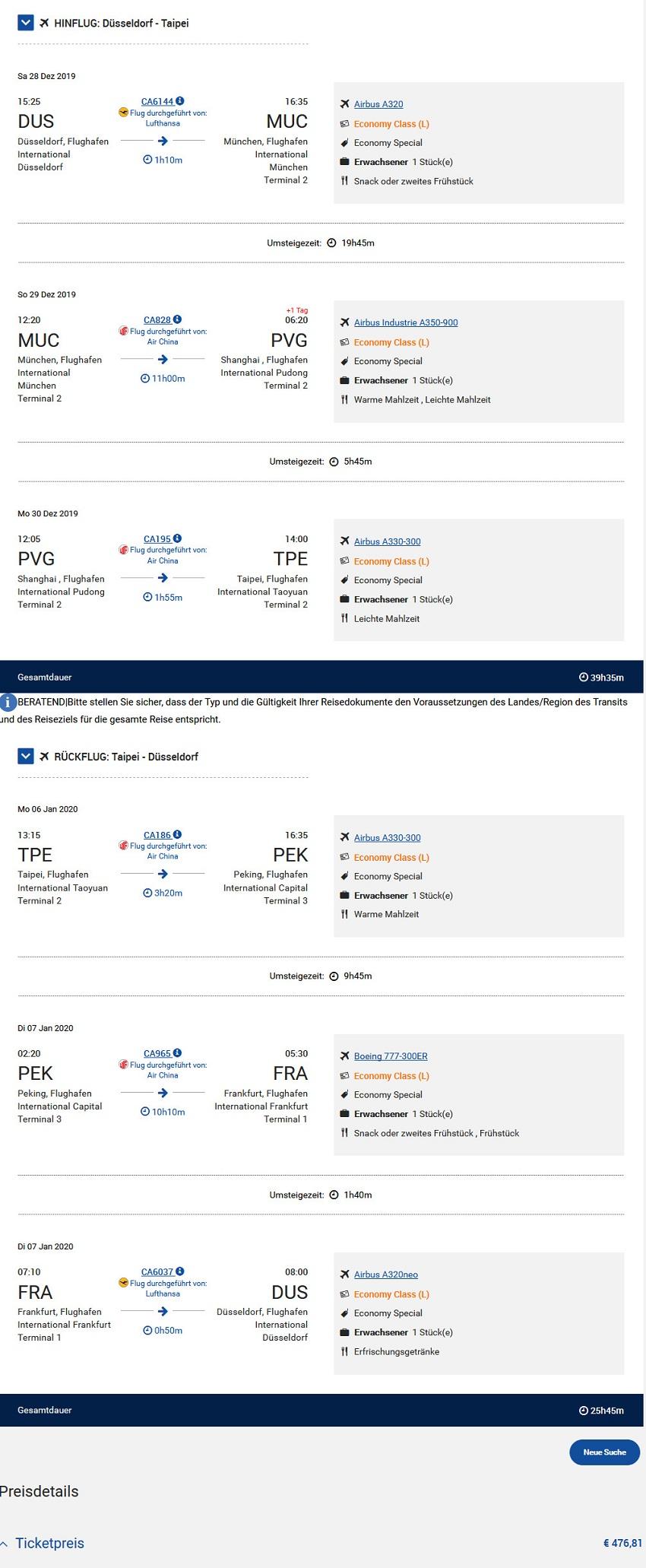 Preisbeispiel von Düsseldorf nach Taipei in der Air China Economy-Class