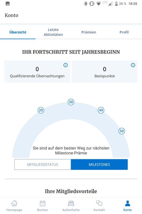 World of Hyatt App - Milesstone und Statusangaben