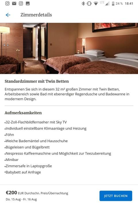World of Hyatt App - Zimmerbeschreibung