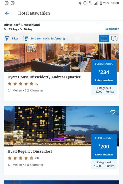 World of Hyatt App - Übersicht der Hotels