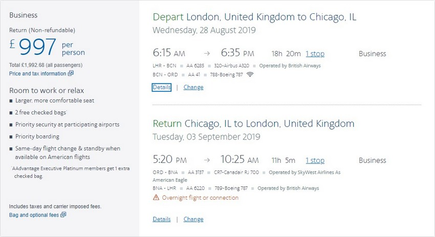 Preisbeispiel von London nach Chicago in der American Airlines Business-Class