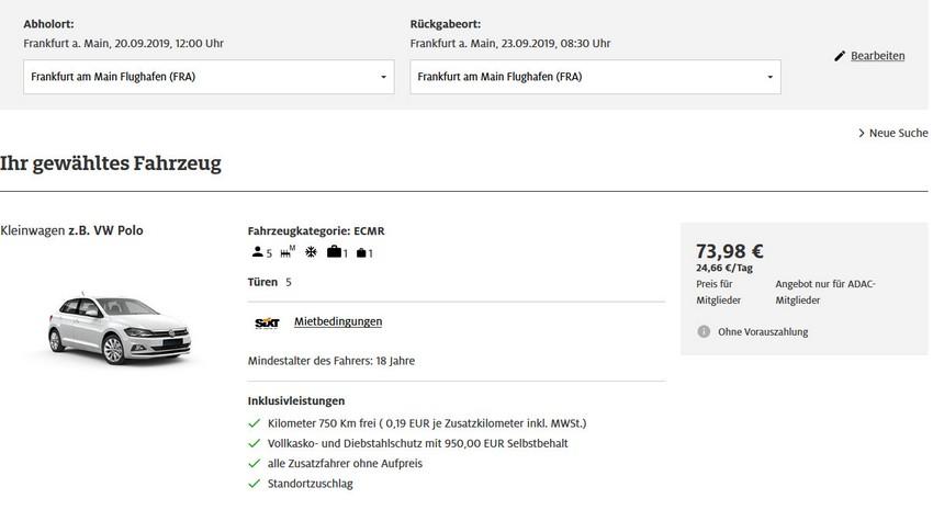 Preisbeispiele und Vergleiche mit Sixt Miles and More Raten Frankfurt