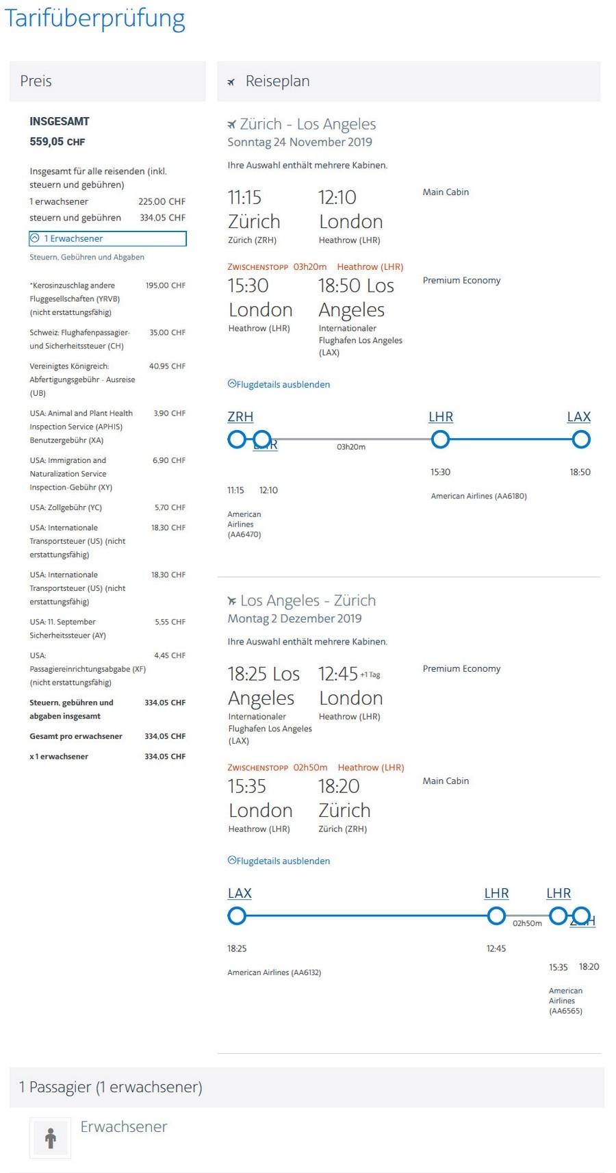 Preisbeispiel von Zürich nach Los Angeles in der American Airlines Premium-Economy-Class