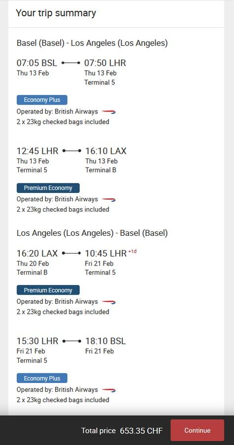 Preisbeispiel von Basel nach Los Angeles in der British Airways Premium-Economy-Class