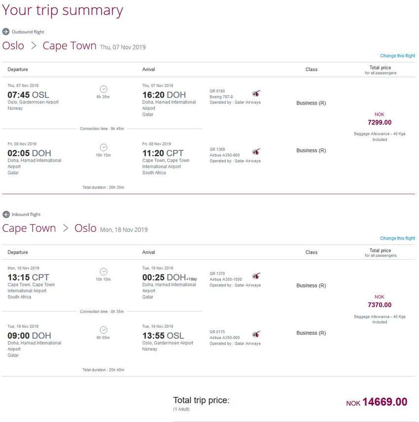 Preisbeispiel von Oslo nach Kapstadt in der Qatar Airways Business-Class