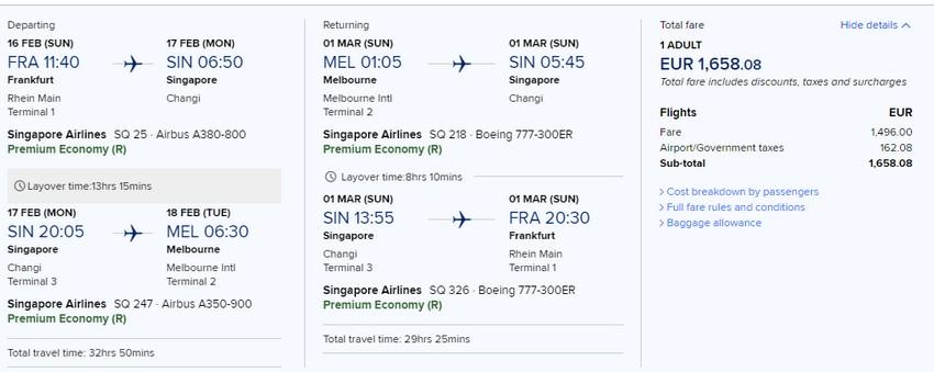 Preisbeispiel von Frankfurt nach Melbourne in der Singapore Airlines Premium-Economy-Class