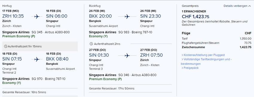 Preisbeispiel von Zürich nach Bangkok in der Singapore Airlines Premium-Economy-Class