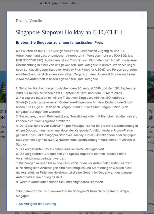SQ 1 EUR Stopover Promotion