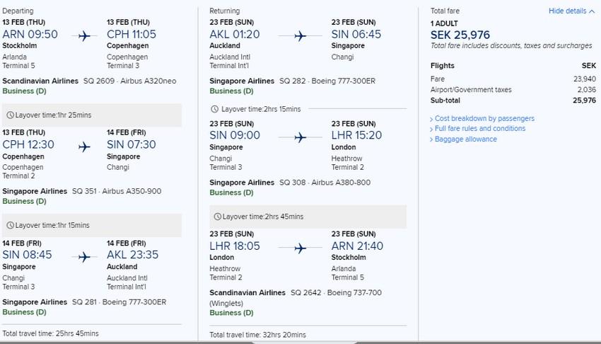 Preisbeispiel von Stockholm nach Auckland in der Singapore Airlines Business-Class