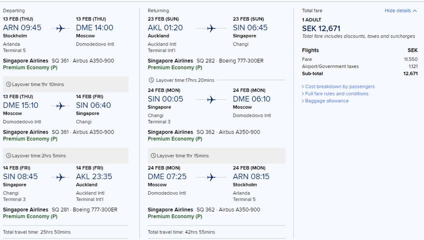 Preisbeispiel von Stockholm nach Auckland in der Singapore Airlines Premium-Economy-Class