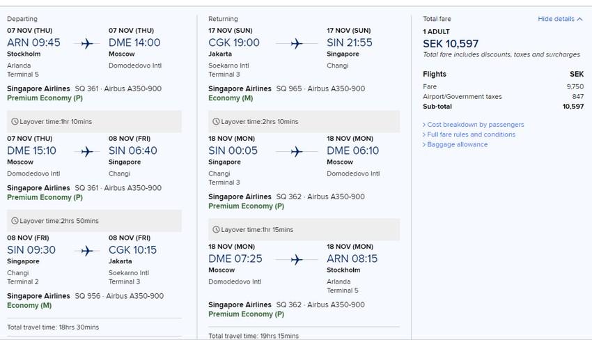 Preisbeispiel von Stockholm nach Jakarta in der Singapore Airlines Premium-Economy-Class