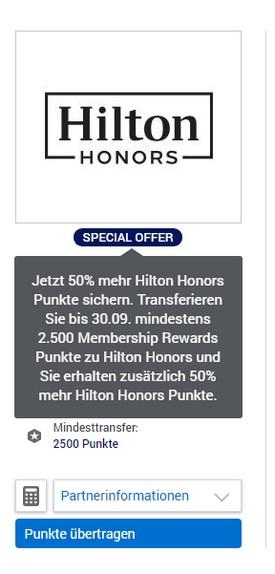 50% Bonus beim Transfer von Membership Rewards zu Hilton Honors