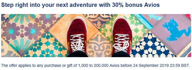 30% Bonus beim Kauf von British Airways Avios bis 24.09.2019