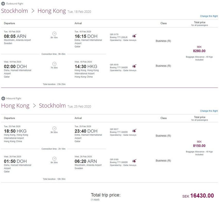 Preisbeispiel von Stockholm nach Hong Kong in der Qatar Airways Business-Class