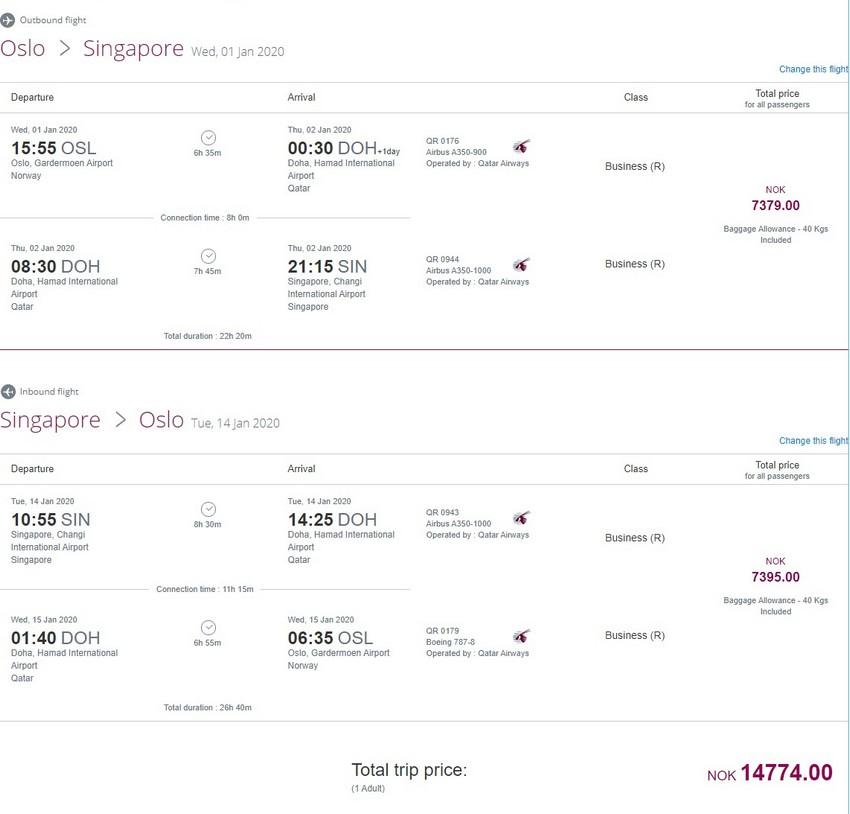 Preisbeispiel von Oslo nach Singapore in der Qatar Airways Business-Class