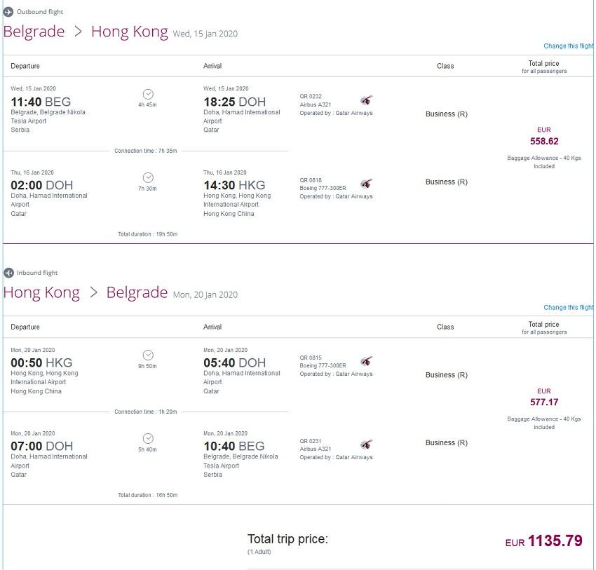 Preisbeispiel von Belgrad nach Hong Kong in der Qatar Airways Business-Class
