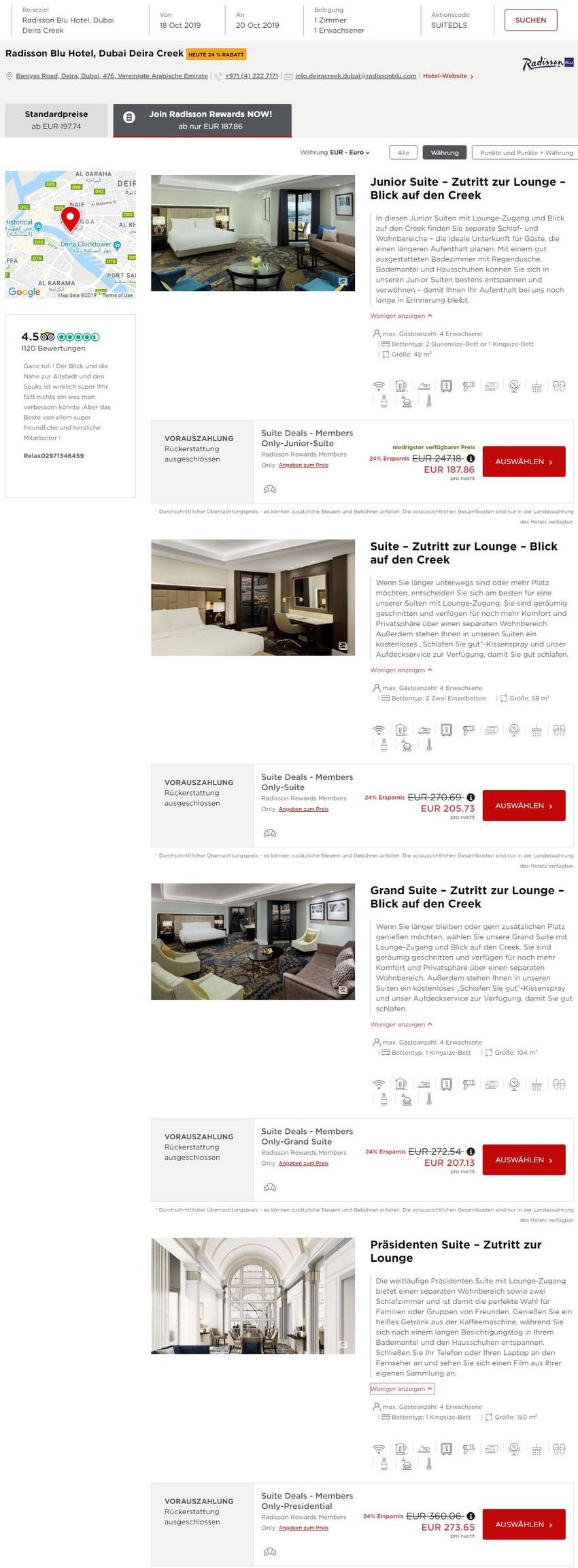 Preisbeispiel Radisson Dubai Creek Suite Deals