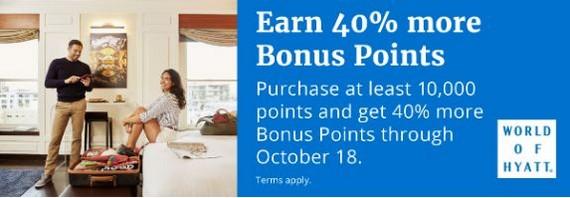 Bonus beim Kauf von World of Hyatt Punkten bis 18.10.2019
