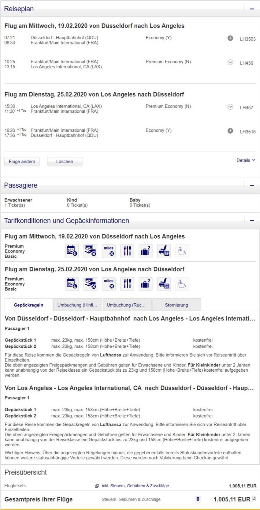 Preisbeispiel von Düsseldorf nach Los Angeles in der Lufthansa Premium-Economy-Class