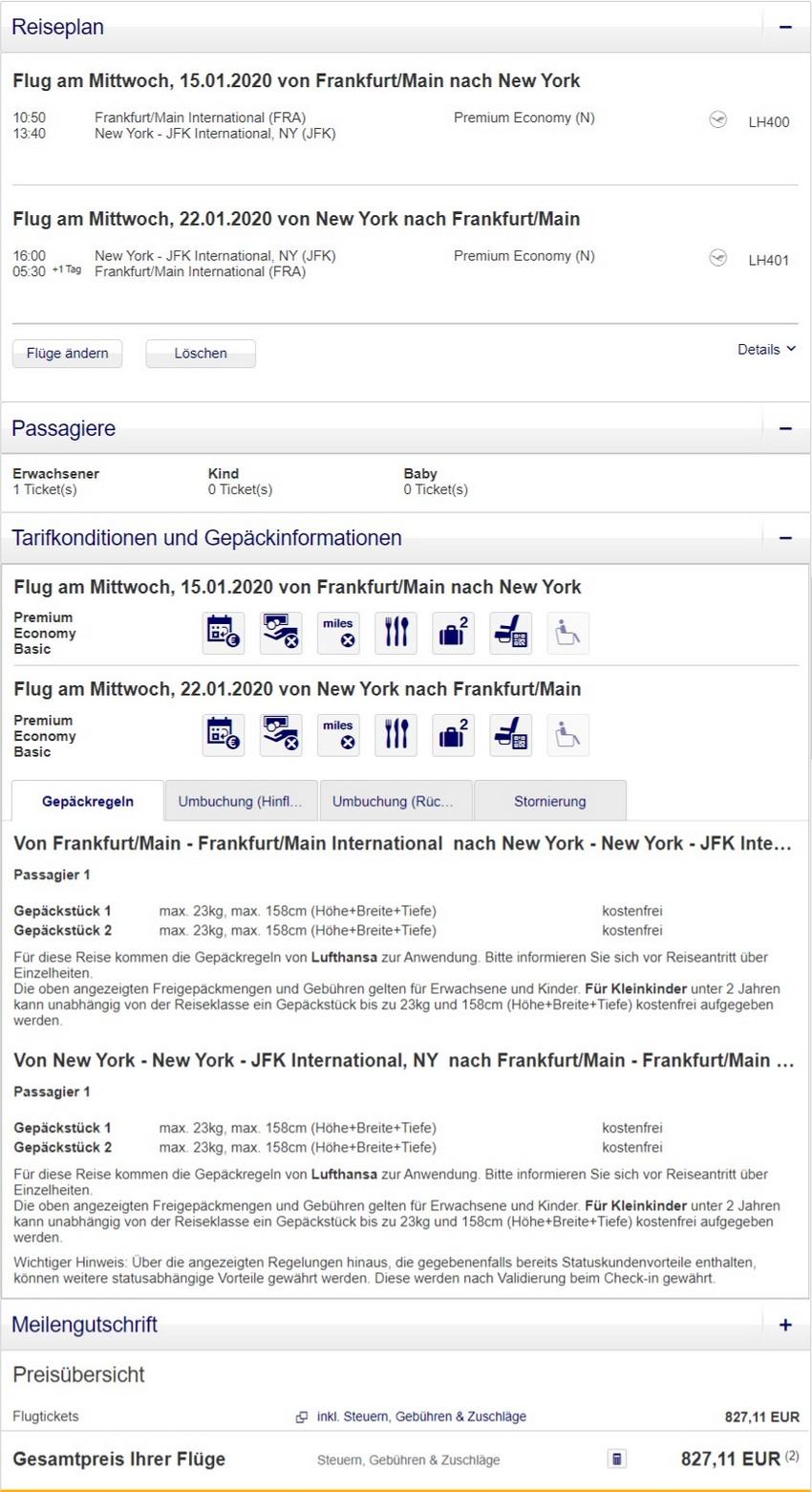 Preisbeispiel von Frankfurt nach New York in der Lufthansa Premium-Economy-Class