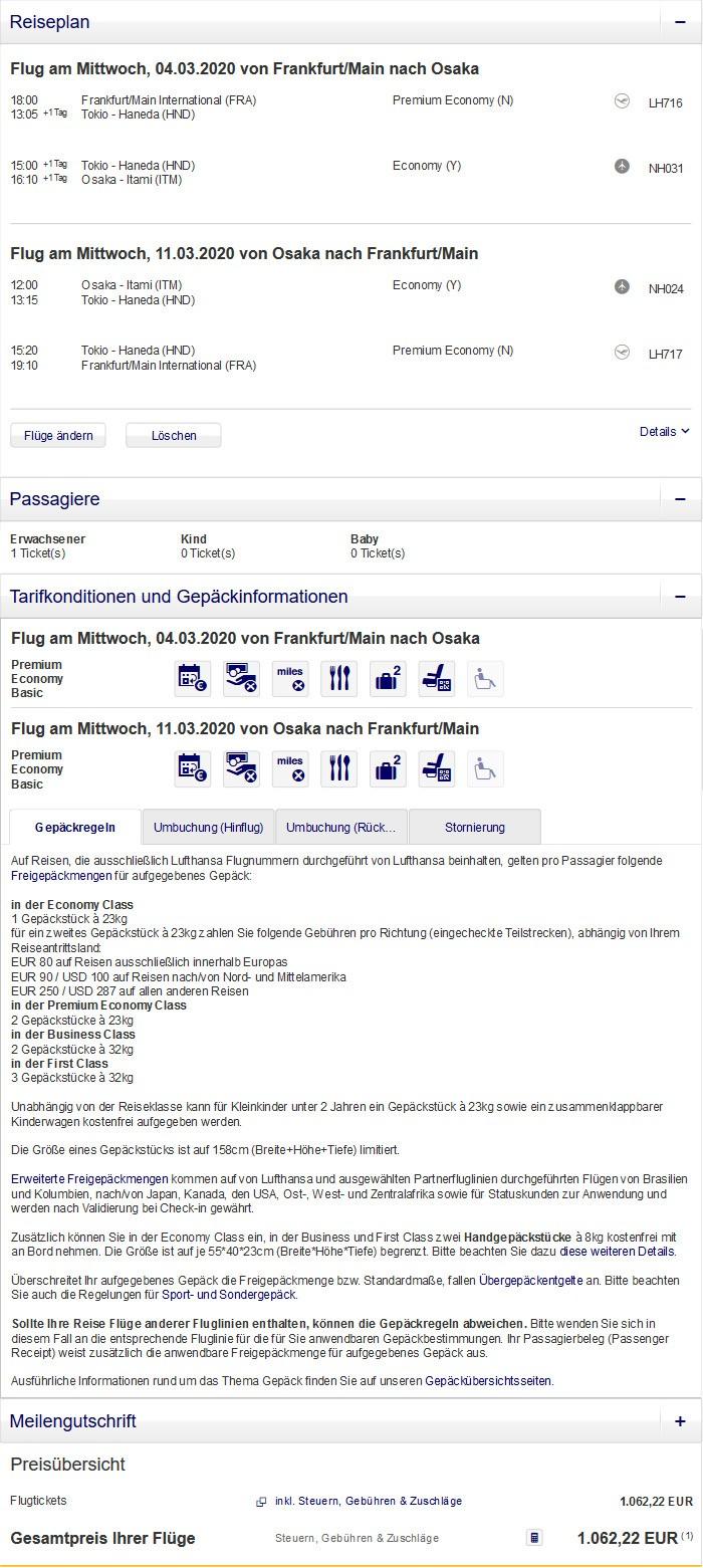 Preisbeispiel von Frankfurt nach Osaka in der Lufthansa Premium-Economy-Class